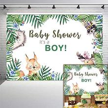 Woodland Boy Baby Shower Backdrop Jungle Animals Childrens Birthday Party Banner Photography Background Candy Table Decorations