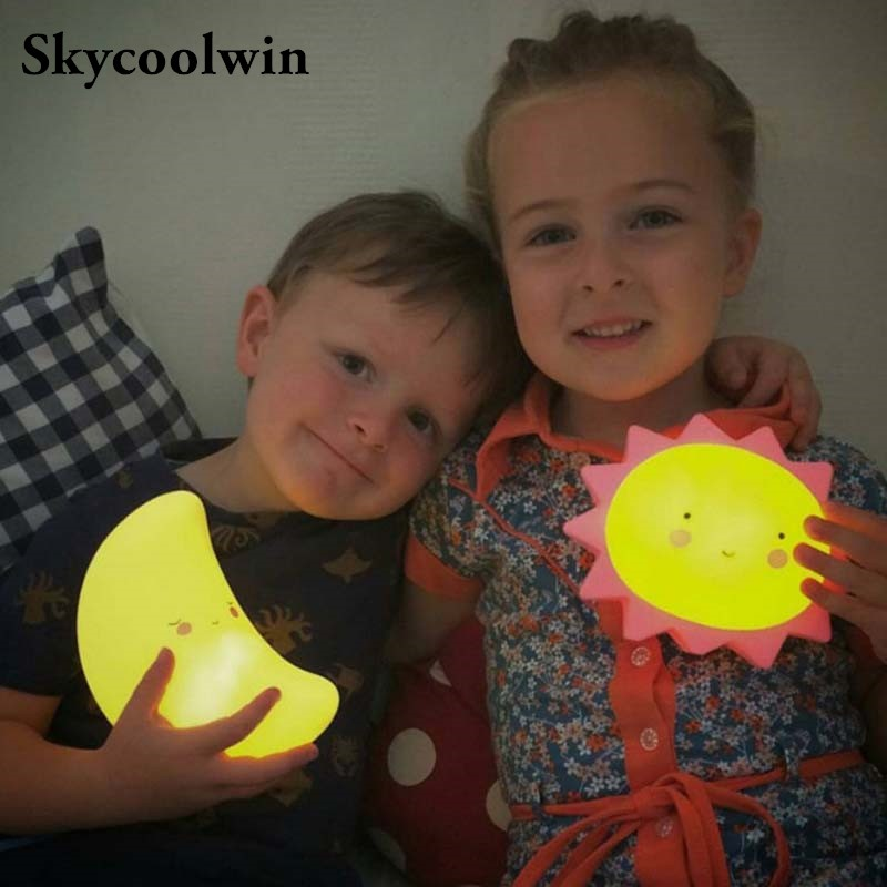 Night Light for Kids Cute Moon Children Bedrooms LED Lights Silicone Baby Lamp Nursery Toy NightLight