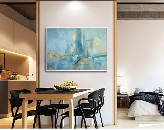 € 44.38 18% de réduction|Abstrait moderne toile mur fait à la main  contemporain célèbre artiste bleu paysage marin peinture à l\'huile sur  toile ...