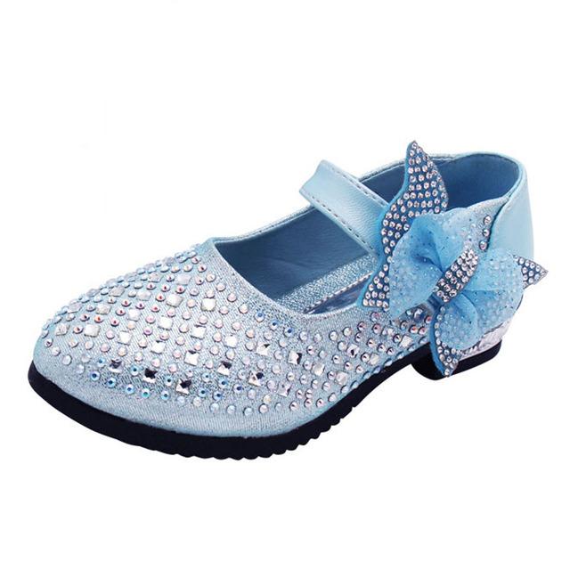Crianças meninas vestido de cristal shoes bling flor meninas sapatos de salto alto strass sandálias princesa wedding shoes para o partido 2017 primavera