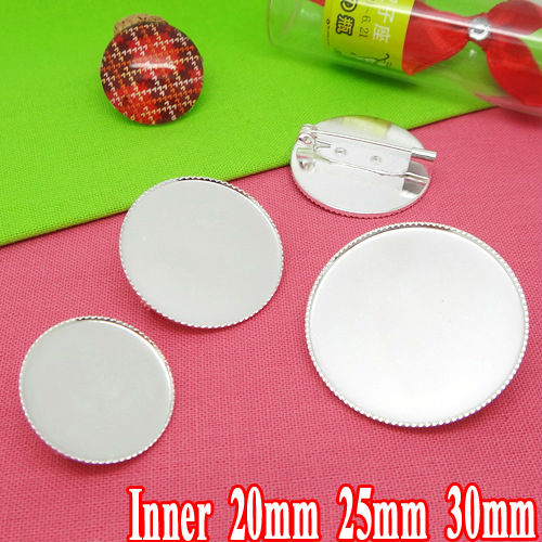 Wholesale 10pcs Silver Plated Brooch Blanks with inner 20-25-30 Teeth edge Bezel Setting Tray for Cabochons and Safety Pins