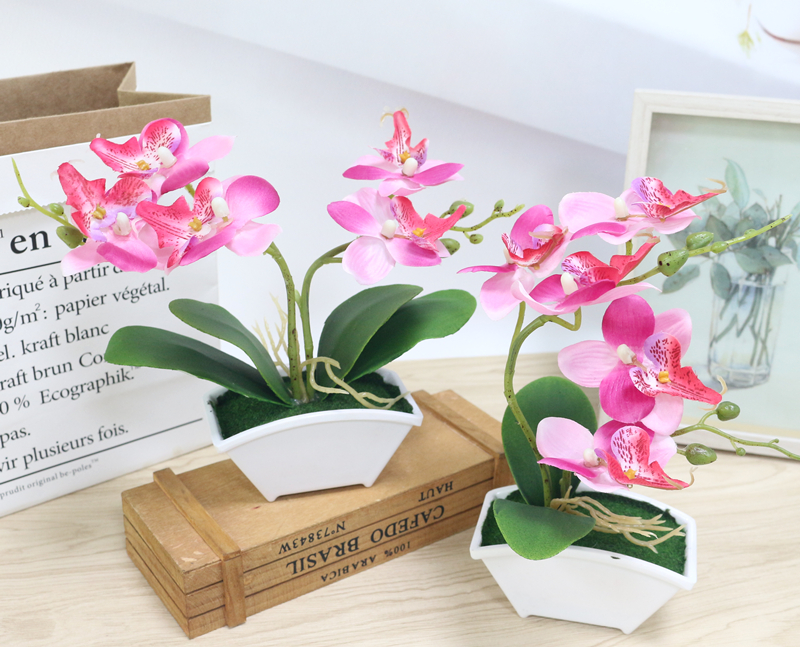 small artificial butterfly orchid flower set with real touch leaves artificial plants overall floral for wedding (2)
