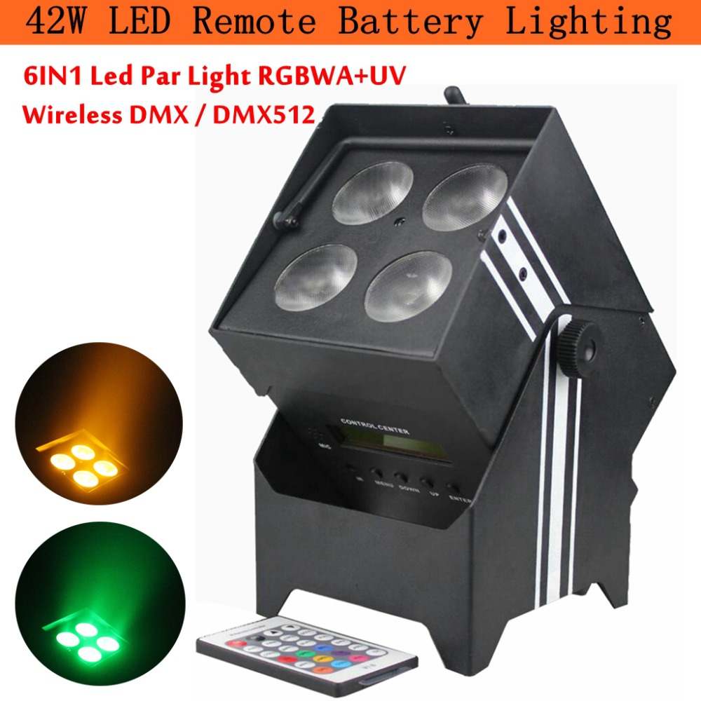 New Professional DMX Stage Lighting Wireless Battery Powered Portable 42W 6IN1 Led Par Light RGBWA+UV for DJ Disco Party KTV