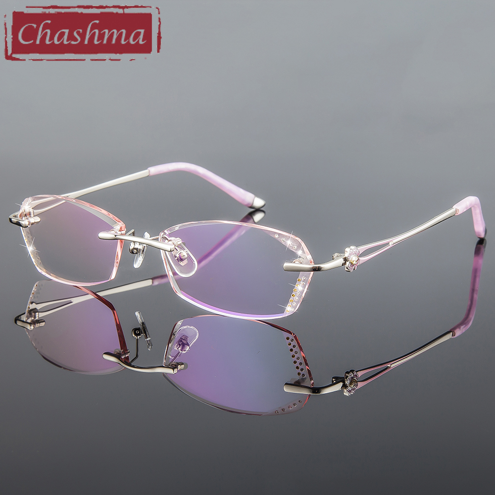 Chashma Brand Women Diamond Trimmed Tint Lenses Glasses Frame Prescription Spectacles for Female Fashion Colored Stones