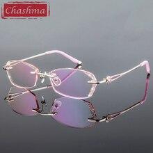 Chashma Brand Women Diamond Trimmed Tint Lenses Glasses Frame Prescription Spectacles for Female Fashion Colored Stones