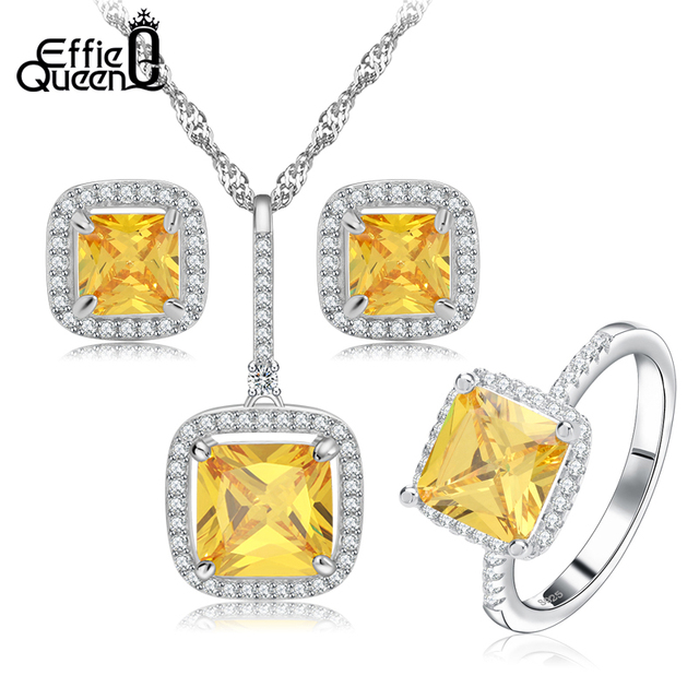 Effie Queen New Platinum Plated Zircon Bridal Wedding Jewelry Sets with Necklaces & Earring & Ring Jewelry Set For Women WS67
