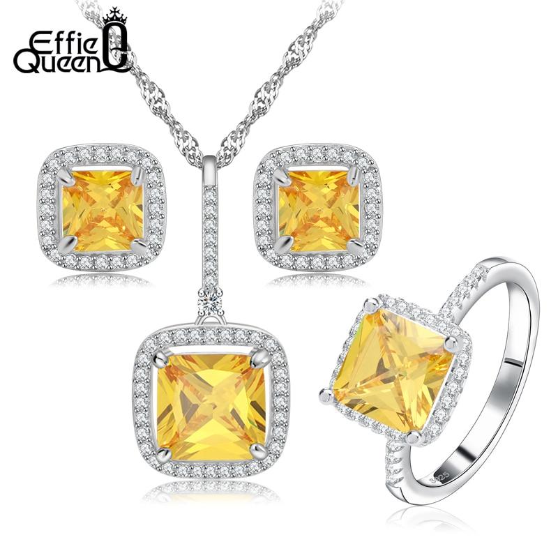 Effie Queen New Yellow color Zircon Bridal Weddings
