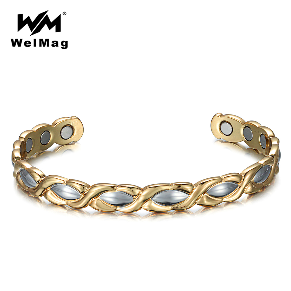 WelMag Women's Pure Copper Adjustable Open Magnetic Therapy Bracelets Bangles Silver Gold Charm Energy Bracelet Femme Wristbands