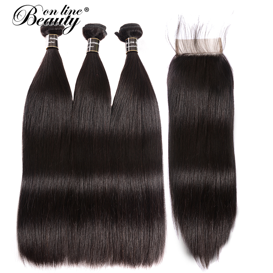 Straight Hair Bundles With Closure Brazilian Hair Weave 3 Bundles Human Hair Bundles With Closure BOL Remy Hair Extensions