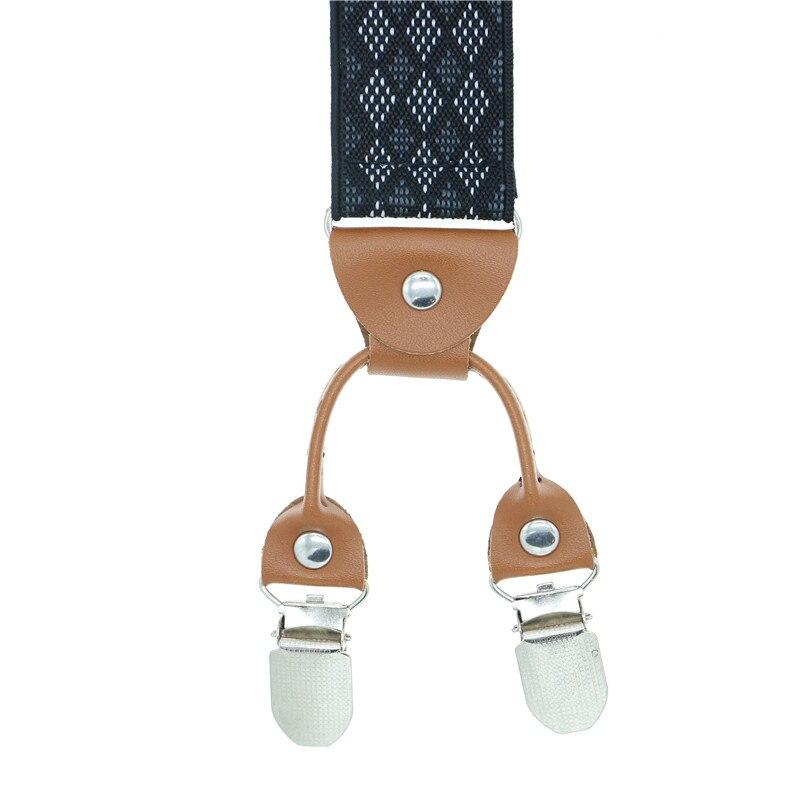 Fashion printing alloy 6 Clips Plaid Men Suspenders Y-Shape Jacquard Braces Elastic Adjustable Pants commercial western-style