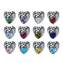 Wostu Genuine 925 Sterling Silver 12 Months Birthstone Signature Heart Beads Fit Original Charm Bracelet Jewelry Dxc573