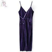 3 Colors Velvet Midi Dress Phụ Nữ Warp Sâu Tied Cao Eo Cổ V Đùi Chia Spaghetti Strap Backless Phục Thanh Lịch