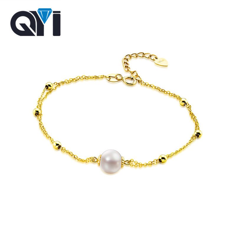 все цены на QYI Natural Cultured Freshwater Pearl Chain Pure AU750 18K Yellow Gold Bracelet Jewelry High Quality Pearl for Lady Wedding онлайн