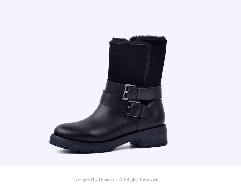 DONNA-IN 2017 winter new styles real fur mid-calf boots thick outsole metal buckle women boots warm wool low heel snow boots 838-702 (13)