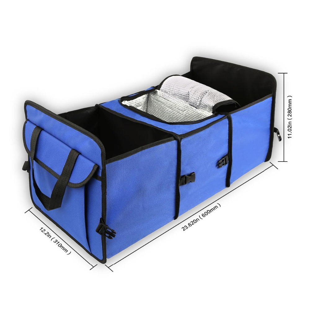 Foldable Trunk Organizer - Cooler Storage for Auto Front&Back Seat, Collapsible - Hold Vehicle Cargo Secure and Prevent Sliding