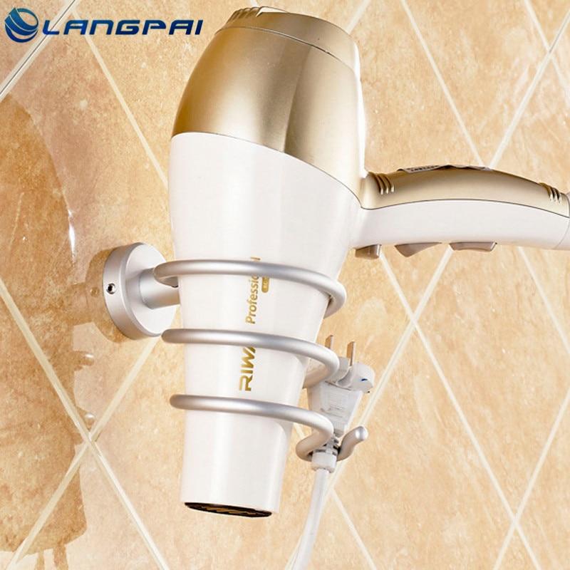 Langpai Bathroom Accessories Hair Dryer Holder Modern Wall Mounted