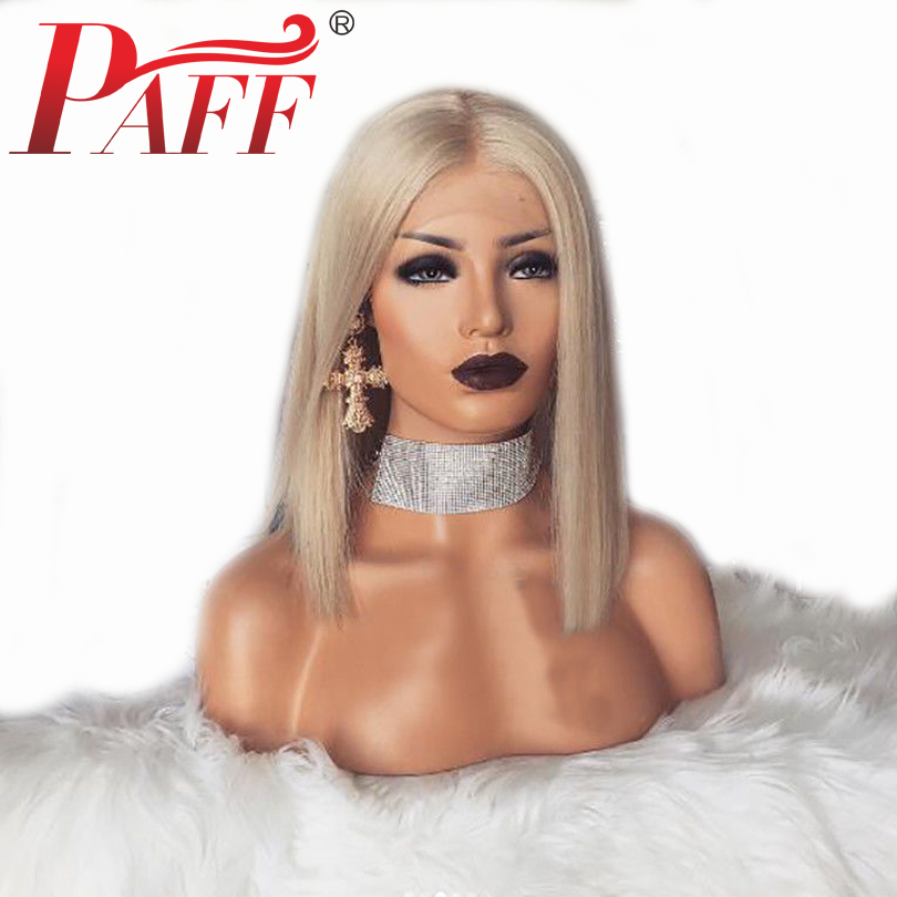 PAFF Short Bob Blonde 60 13*3 Lace Front Human Hair Wigs 150%Density Straight Brazilian Remy Hair Bleached Knot With Baby Hair