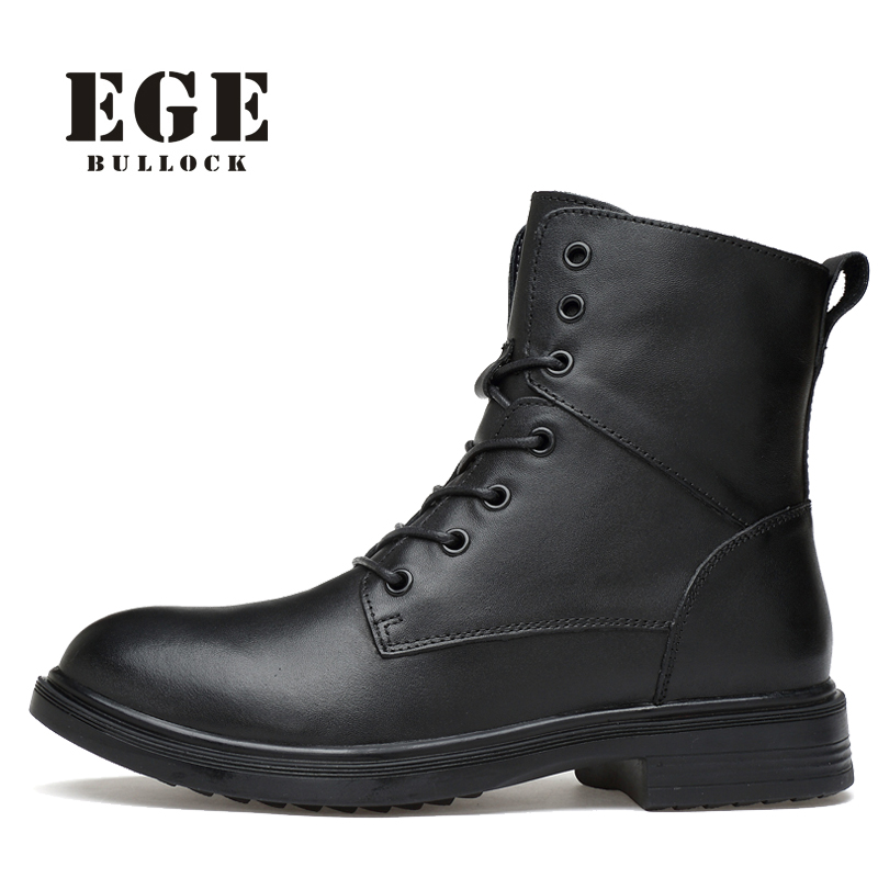 Men Winter Boots EGE Fashion Brand Leather Shoes New Arrival High Quality Genuine Leather Snow Shoes Causal Motorcycle Boots Men 2016 new arrival men winter martin ankle boots pu leather high quality fashion high top shoes snow timbe bota hot sale flat heel