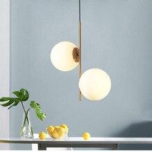 Современный минималистичный подвесной светильник в скандинавском стиле, стеклянный шар с одной головкой, Подвесная лампа для спальни, простые светильники