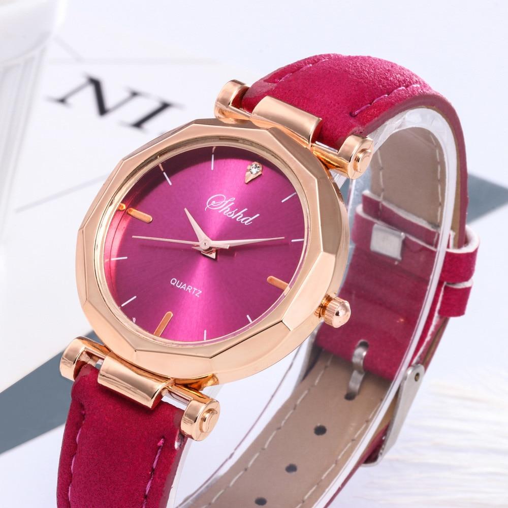 Luxury Women Quartz Watches Faux Leather Color Metal Dial Wristwatch 2019 Fashion Women Watch Relogio Feminino For Dropshipping