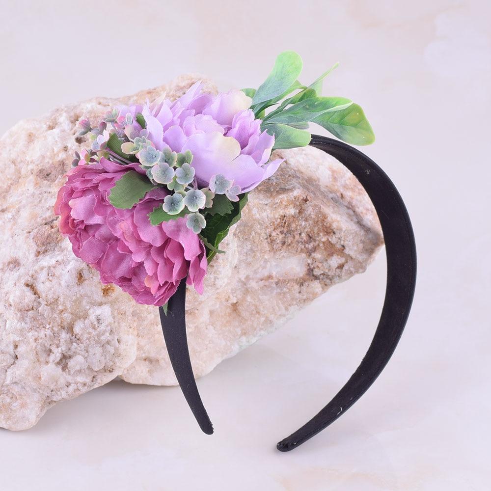Cxadditions Hair Band Floral Crown Headband Big Peony Flower Grass