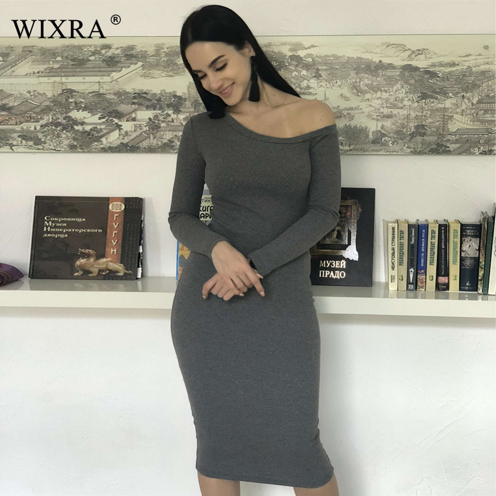 WIXRA De Base Une Épaule Robe 2018 Printemps Automne Femmes Sexy haute Stretch Midi Nervure Robe Élégante Robes de Soirée Robes De Festa