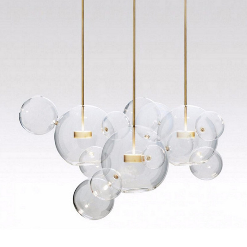 KINLAMS Post Modern Creative Clear Glass Bubble Ball Led Pendant Lamp for dining room living room bar LED Glass Hang Lamp vitrust modern pendant lamps nordic led glass crystal bubble lighting hanglamp creative dinning living room bar hanging lamp