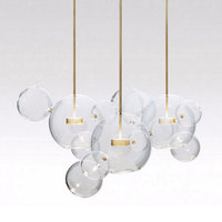 KINLAMS Post Modern Creative Clear Glass Bubble Ball Led Pendant Lamp For Dining Room Living Room