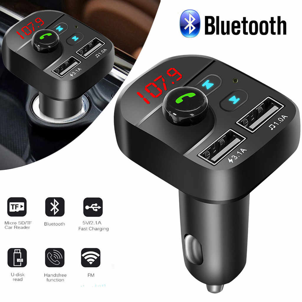 Bluetooth 5.0 Car Kit Handsfree Wireless FM Transmitter 3.1A Quick Charge Dual USB Charger LCD TF Card Car MP3 Player