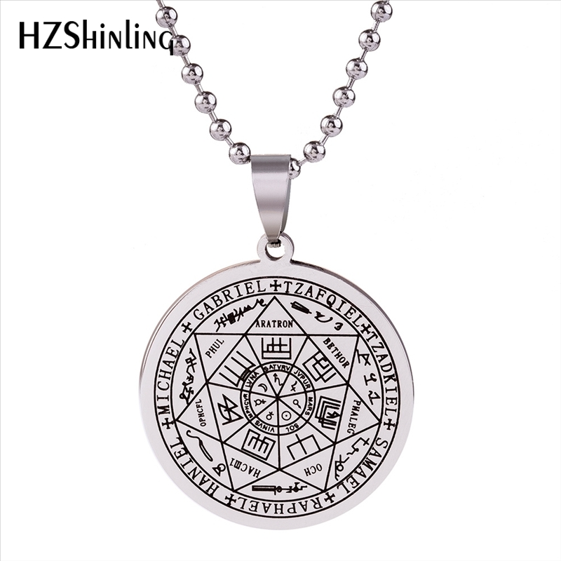 2018 New Stainless Steel Seals Of The Seven Pendant Necklace Silver Ball Chain Fashion Jewelry Round Pendants Gift Men Women HZ7