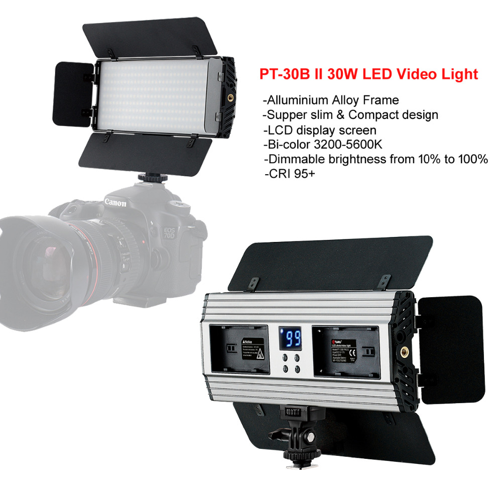 Tolifo PT-30BII 30W Alluminium Photo LED Video Studio Light Bi-Color & Dimmable+Barndoor+Handle for Canon Nikon Camera Camcorder