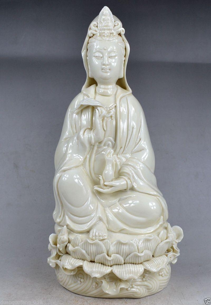 Exquisite China Dehua White Porcelain Kwan-Yin Sitting on Lotus Big StatueExquisite China Dehua White Porcelain Kwan-Yin Sitting on Lotus Big Statue