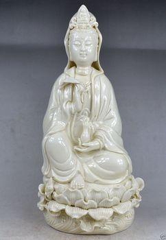 Exquisite China Dehua White Porcelain Kwan-Yin Sitting on Lotus Big Statue
