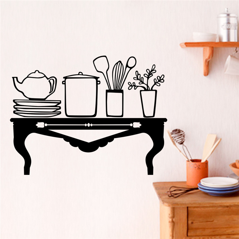 Creative Dining Table Pattern Wall Stickers Home Decoration Vinyl Mural Art Decals In From Garden On Aliexpress