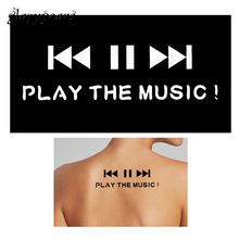 1 Sheet Small Henna Tattoo Indian Stencil Music Play Button Word Design Women Back Body Art Painting Mehndi Tattoo Template G154