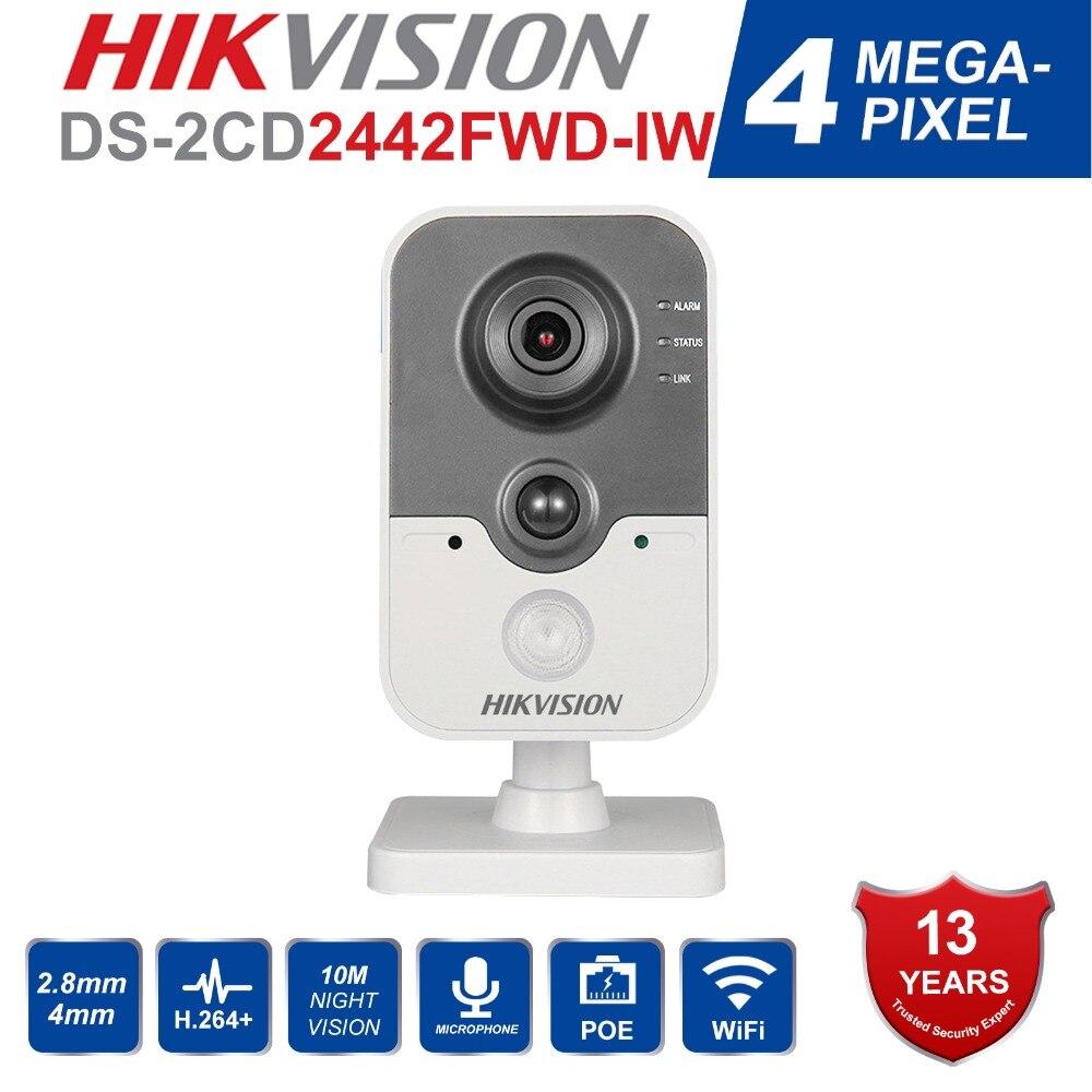 Originale HIK Telecamera di Sicurezza Wireless DS-2CD2442FWD-IW macchina fotografica del IP di poe onvif Indoor 4MP IR Cube WiFi beveiligings cam