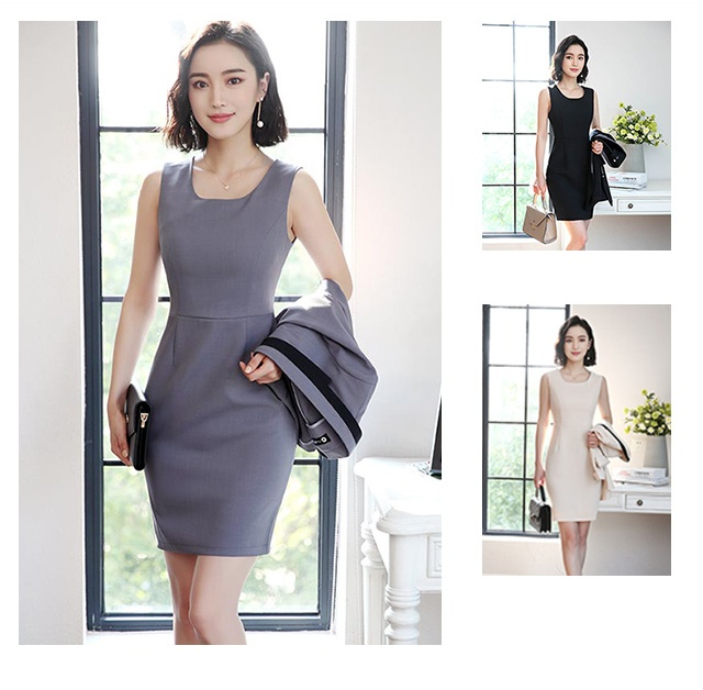 Hot Ladies Dress Suit for Work Full Sleeve Blazer Sleeveless Dress 2 Pieces Set 3
