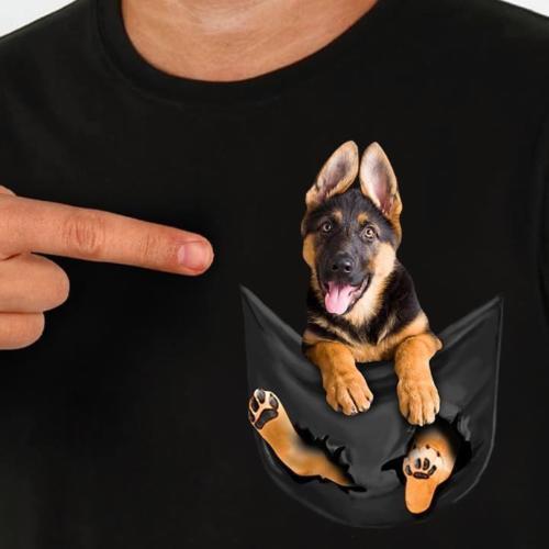Berger allemand Dans La Poche T-shirt Chien Amoureux Noir Coton Hommes fabriqué en USA Bande Dessinée T Shirt hommes Unisexe nouvelle mode t-shirt