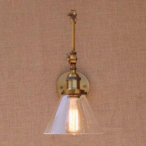 Image 4 - 레트로 황동 조정 가능한 긴 팔 벽 램프 빈티지 LED 계단 빛 로프트 스타일 산업 벽 Sconce Apliques Murale Arandela