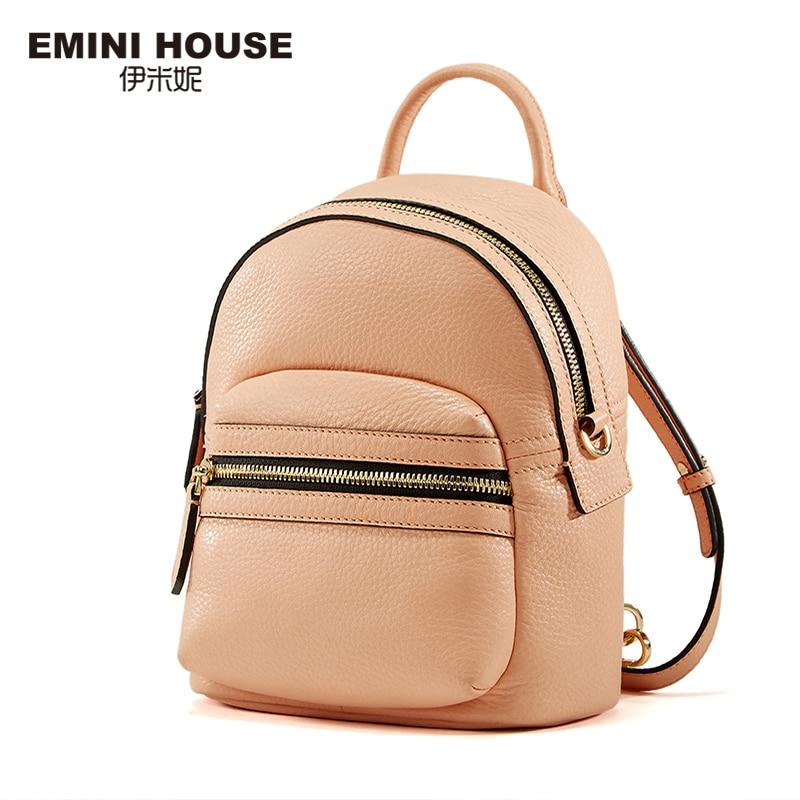 8c1036b6ae EMINI HOUSE Genuine Leather Backpack Mini Travel Bag Backpacks for Teenage  Girls Waterproof Bag Multifunction Shoulder Bags-in Backpacks from Luggage    Bags ...