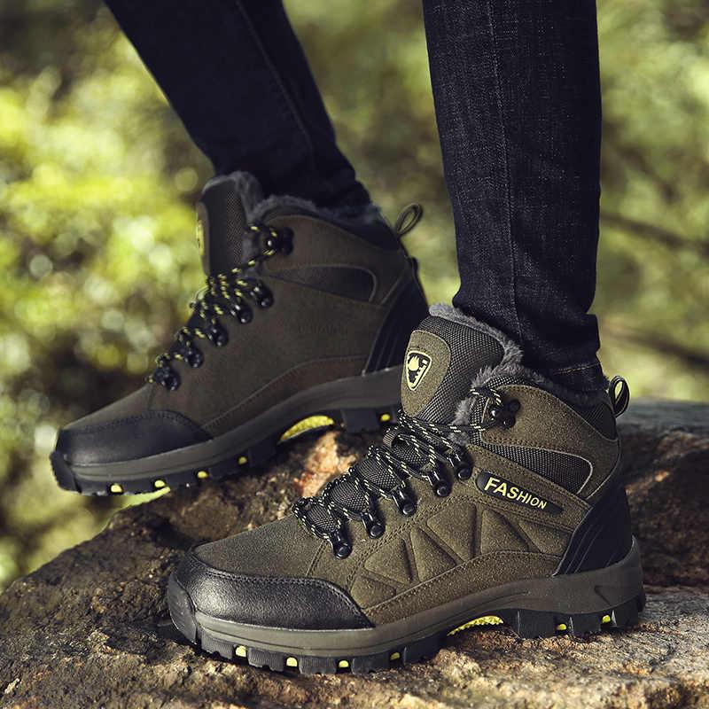 358c88642e7 Designer Winter Fur Snow Men Boots Autumn Non-slip Rubber Sole Men Black  Ankle Boots Tactical Waterproof Men Shoes Footwear