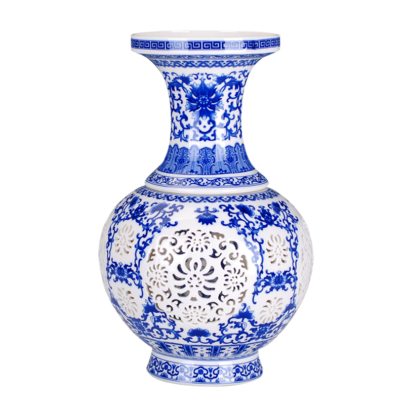 Blue and white ceramic porcelain ivory hollowed vases-in