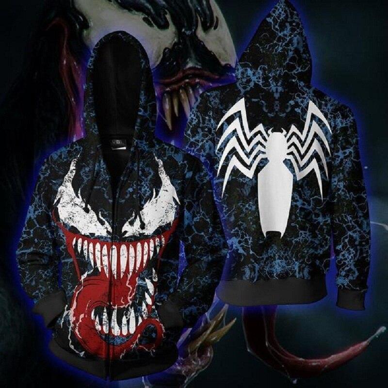 Cosplay Venom Spider-Man à capuche venin masque pleine tête Zip complet manteau Cool veste sweat-shirt hauts nouvelle fête d'halloween