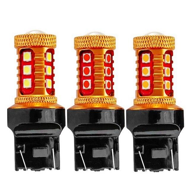 2 шт. T20 7443 W21/5 W супер яркий 1000LM 15 SMD 3030 светодиодный Янтарный Желтый сигнал поворота белый авто лампы обратной красный автомобиль стоп-сигнала