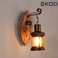 EKOO E27 Leaf shape Retro Industrial Rustic Style Lantern Wall Fixture Lamp Sconce Light