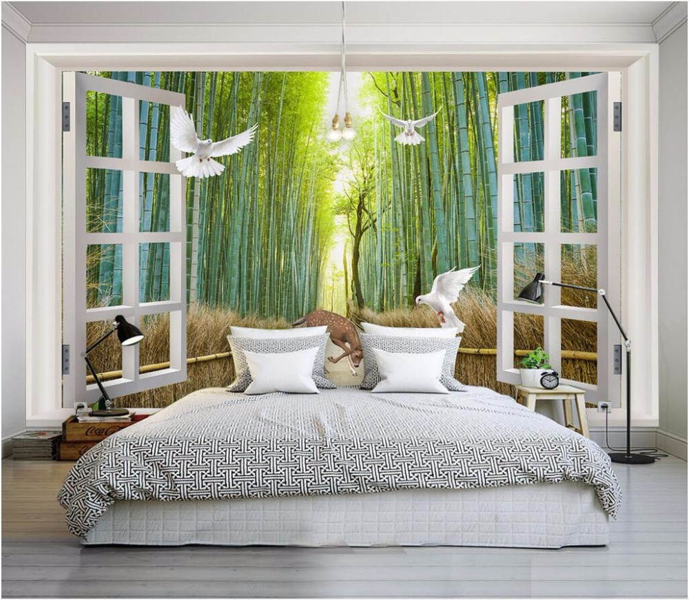 high quality bamboo wall mural buy cheap bamboo wall mural lots custom mural 3d wallpaper bamboo forest dove elk scenery painting picture 3d wall murals wallpaper for