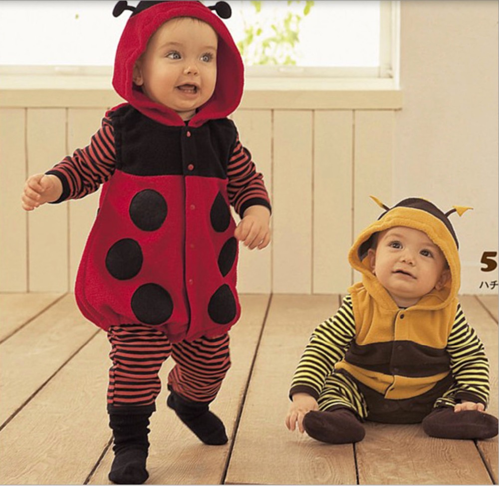 free shipping Wholesale toddlers Kids girls boys Miraculous Ladybug honeybees costumes hooded full sleeve striped rompers