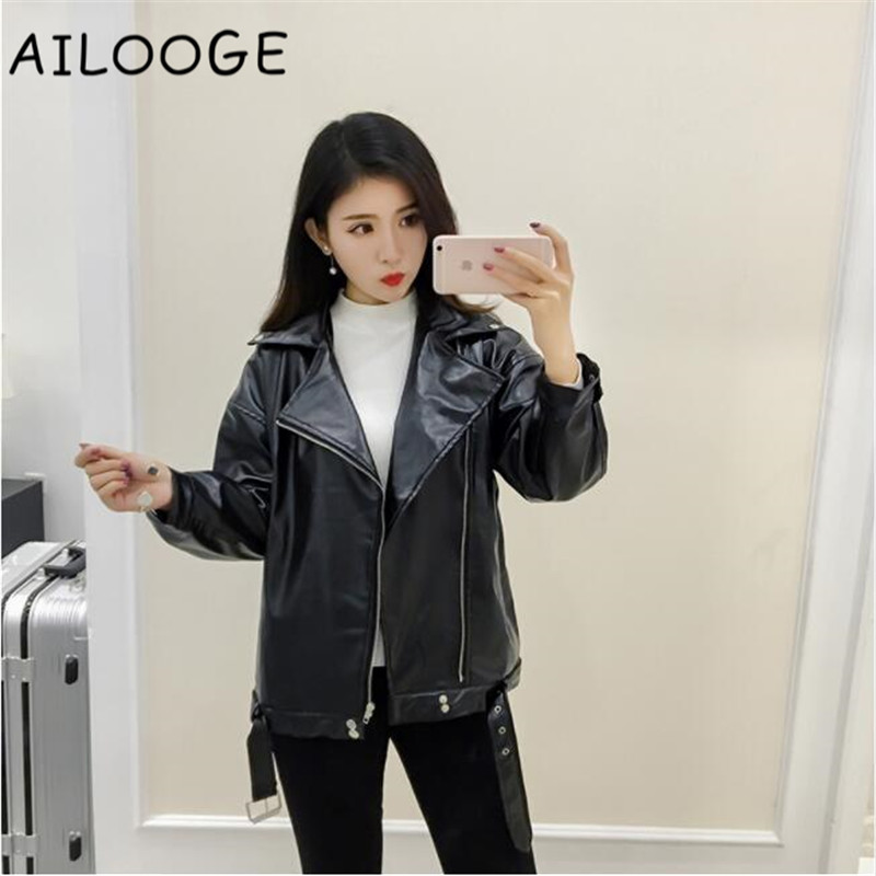 High Quality PU Moto Bomber Jacket Spring Fashion New Streetwear Long Sleeves Casual Women Basic Coats and Jackets S M L