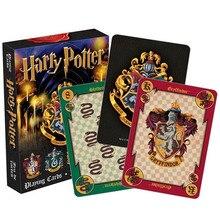 Harri Potter jugando tarjetas de juego Casa de Hogwarts colección insignias símbolos Castillo crestas 2 patrones inglés establece diversión chico juguete de regalo