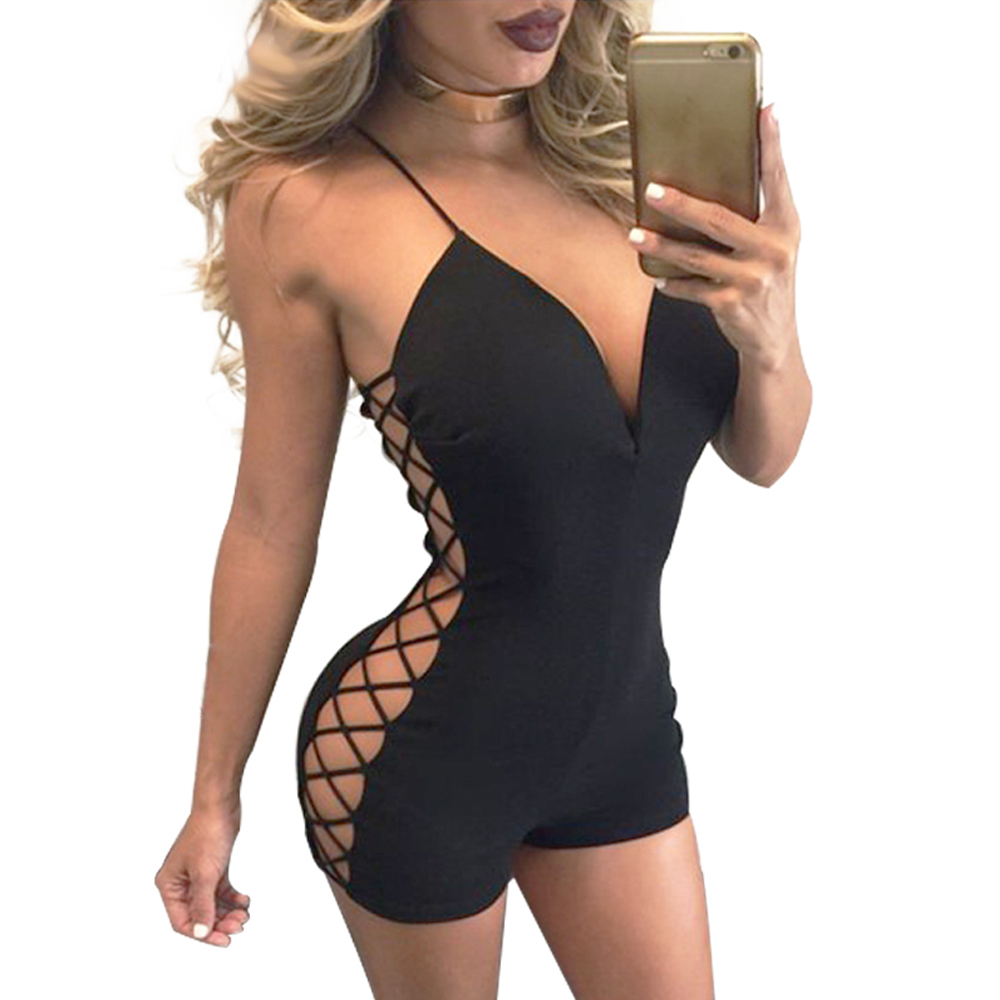 Summer Women Jupsuit Sexy Deep V Neck Backless Side Lace Up Hollow Out Playsuit Night Club Short Bodysuit Overall
